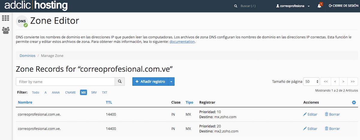 Registro DNS Cpanel